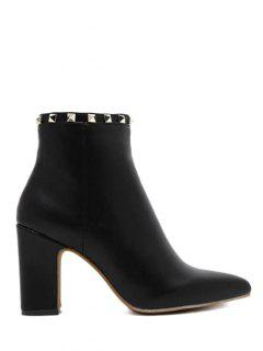 Pointed Toe Rivet Chunky Heel Boots - Black 38