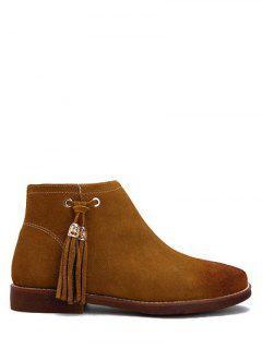 Flat Heel Tassel Suede Ankle Boots - Light Brown 38
