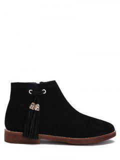 Flat Heel Tassel Suede Ankle Boots - Black 38