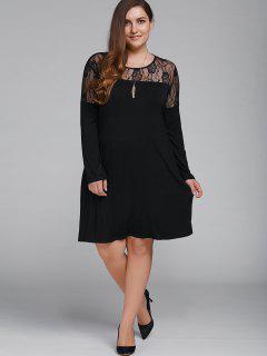 Plus Size Long Sleeves Lace Patchwork Dress - Black 3xl