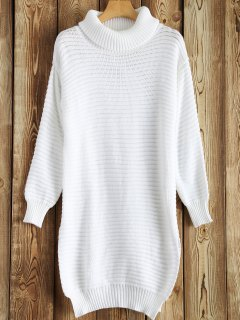 Side Furcal Turtle Neck Sweater Dress - White S