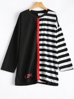 Stripes Color Block T-shirt - Blanc Et Noir