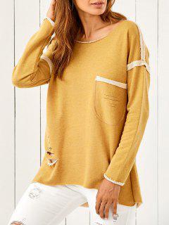 High Low Ripped Sweatshirt - Ginger