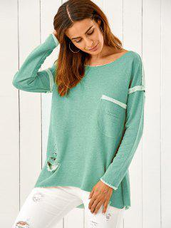 High Low Ripped Sweatshirt - Turquoise