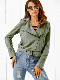 Lapel Zipped Faux Suede Jacket - Army Green S