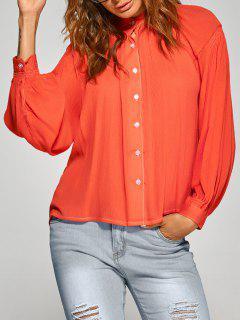 Lâche Shirt Froncé - Tangerine S