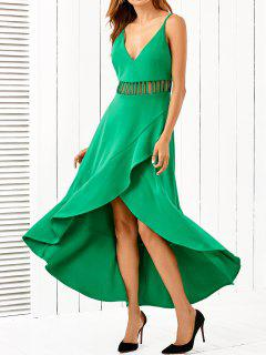 Low Cut Asymmetric Dress - Green L