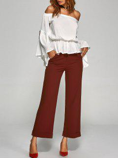 Turnup Wide Leg Pants - Wine Red M