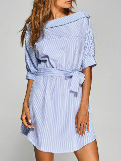 Striped Asymmetric Neckline Belted Dress - Blue And White S
