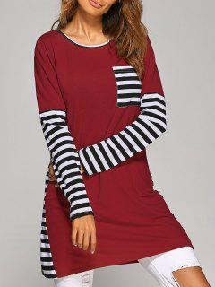 Contrasting Stripe Long Sleeve T-Shirt Dress - Wine Red M