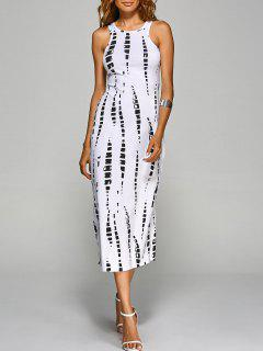 Tie-Dyed Back Cut Out Bodycon Dress - White S