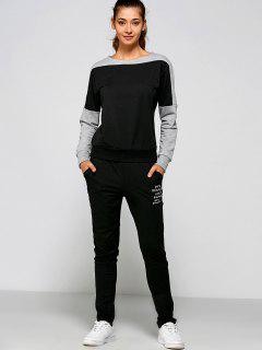 Letter Print Sweatshirt And Pants - Black 2xl