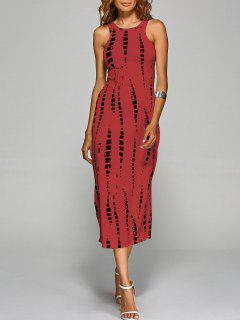 Vestido Al Cuerpo Corte Trasero Desteñido - Rojo S