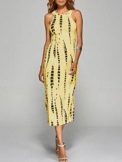 Tie-Dyed Back Cut Out Bodycon Dress - Yellow M