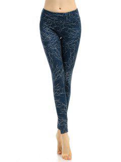 Slimming Elastic Waist Printed Gym Pants - Azure Blue S