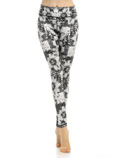 Stretchy Sporty Abstract Printed Gym Pants - Gray L