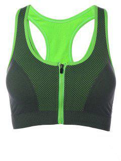 Zipper Breathable Sports Bra - Green S