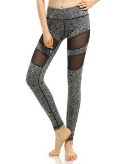 Heathered Stretchy Mesh-Insert Pants - Gray S
