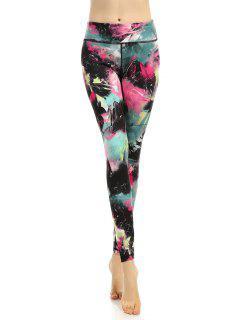 Stretchy Multicolor Printed Leggings - L