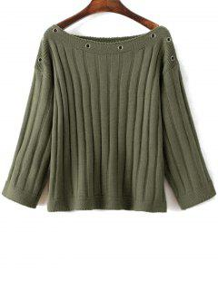 Slash Neck Ribbed Jumper - Green