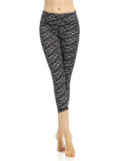 Stretchy Cropped Leggings - Black Grey S