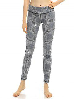 Geometric Pinstriped Stretchy Leggings - Gray S