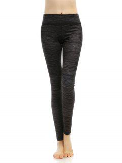 Geometric Stretchy Print Leggings - Black Grey S