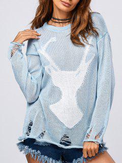 Elk Pattern Distressed Knitwear - Light Blue S
