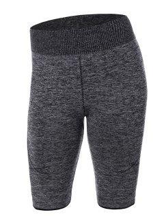 Knee Length Skinny Yoga Shorts - Gray S