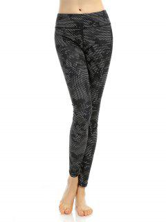 Slimming Printed High Stretchy Leggings - Black S