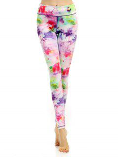Breathable Multicolor Printed Stretchy Leggings - L