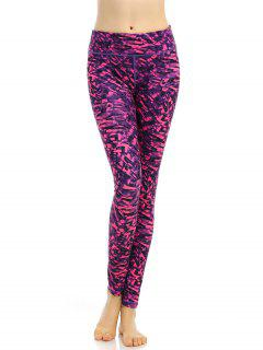 Stretchy Abstract Printed Breathable Leggings - Rose Red S