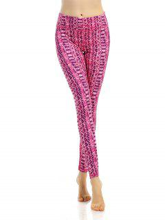 Ornate Printed Stretchy Breathable Leggings - Rose Red S