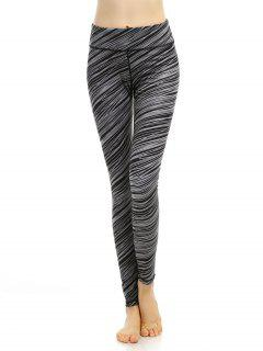 Breathable Printed High Stretchy Leggings - Black Grey S