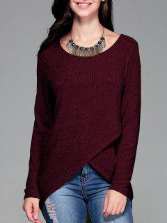 Ribbed Front Slit Tee - Wine Red Xl