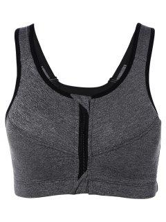 Zip Up Cut Out Sports Bra - Gray S