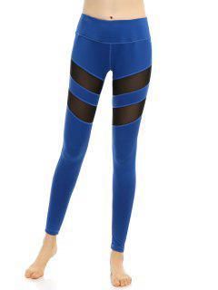 Slimming Stretchy Mesh-Insert Pants - Blue S
