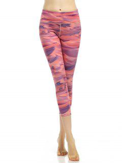 Stretchy Abstract Printed Cropped Leggings - Watermelon Red S