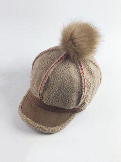 Fleece Pom Ball Embellished Baseball Hat - Camel