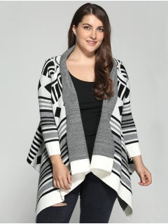 Asymmetric Geometric Pattern Plus Size Cardigan - 2xl