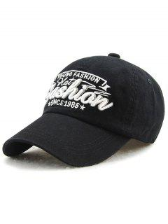 Adjustable Outdoor Letters Embroidery Baseball Cap - Black