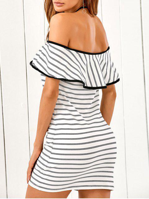 ladies Flounced Striped Bodycon Dress - STRIPE M Mobile