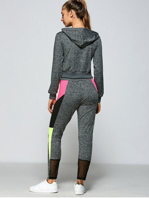 affordable Color Block Hoodie and Pants - GRAY S Mobile