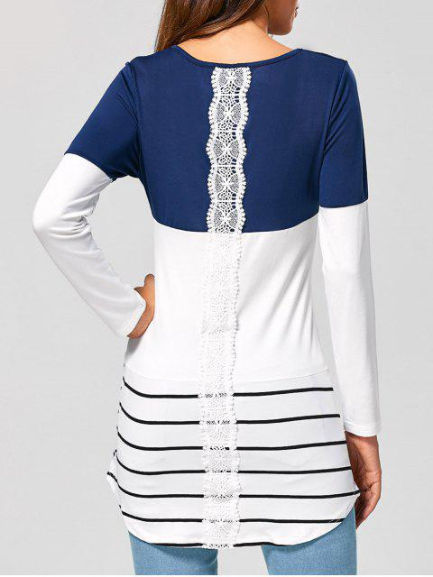 ロングストライプレースパネルロングスリーブTシャツ - 藍色 L Mobile