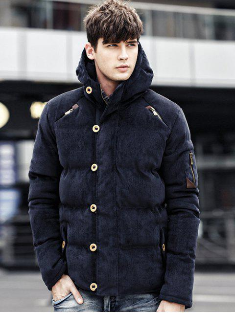 online Button Embellished Hooded Suede Padded Coat - DEEP BLUE XL Mobile