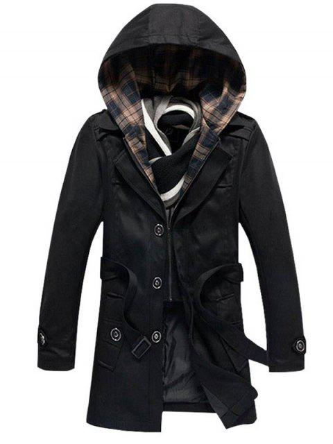 Knöpft abnehmbare Kapuze Belted Coat - Schwarz 4XL Mobile
