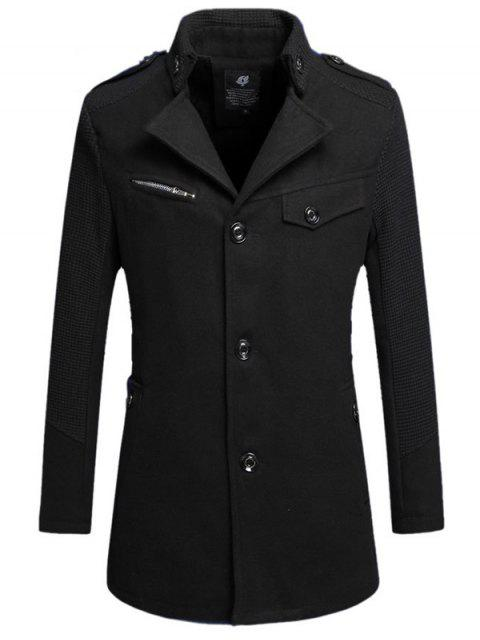 best Single Breasted Turn Down Collar Woolen Coat - BLACK 4XL Mobile