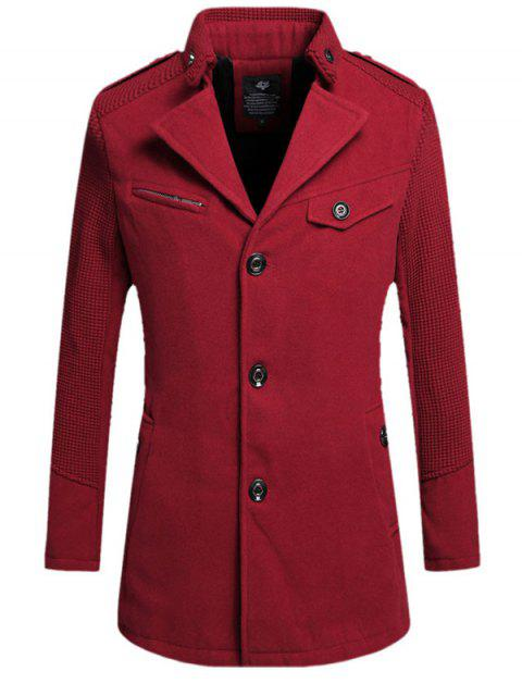 Abrigo Collar Bajo Abrigo Abotonado - Vino Rojo L Mobile