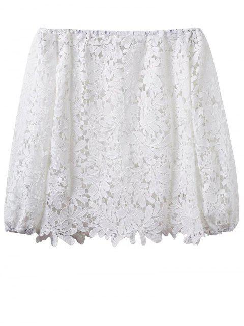 Crochet del hombro de la camiseta - Blanco L Mobile
