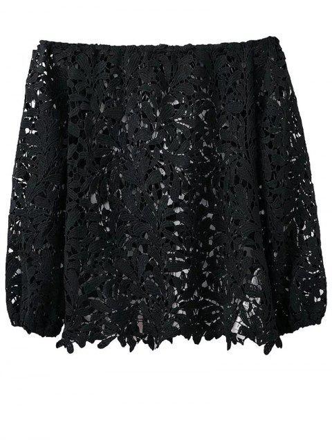 affordable Crochet Off The Shoulder T-Shirt - BLACK L Mobile